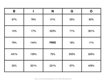 Convert Decimals to Percents BINGO and Task Cards