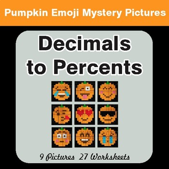 Convert Decimals to Percents - Color-By-Number PUMPKIN EMOJI Math Mystery Pictures