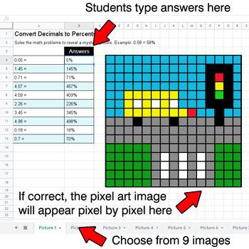 Convert Decimals to Percents - Google Sheets Pixel Art - City