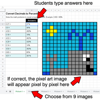 Convert Decimals to Percents - Google Sheets Pixel Art - Ocean Animals