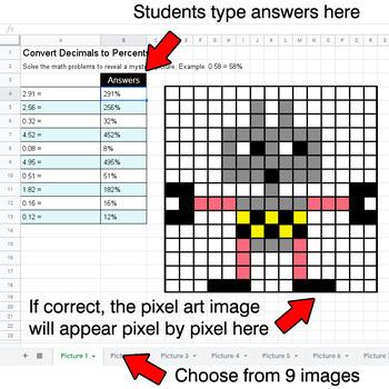 Convert Decimals to Percents - Google Sheets Pixel Art - Robots
