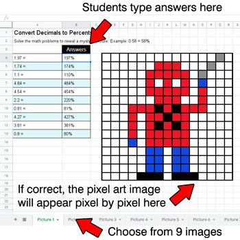 Convert Decimals to Percents - Google Sheets Pixel Art - Superhero
