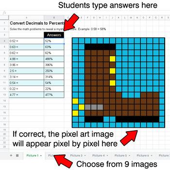 Convert Decimals to Percents - Google Sheets Pixel Art - Western