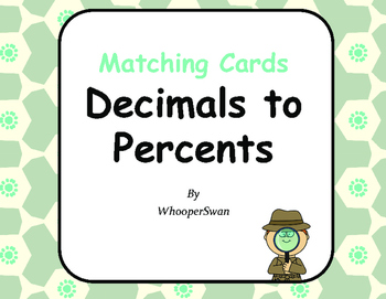 Convert Decimals to Percents Matching Cards