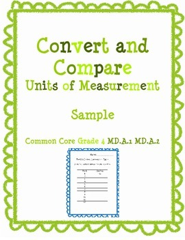 Convert Feet to Inches Freebie from Convert and Compare Measurement Pack