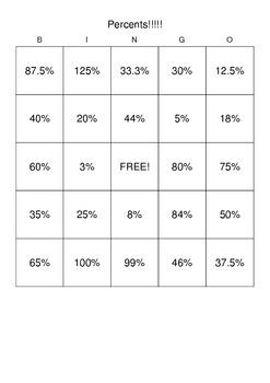 Convert Fraction to Percent Bingo
