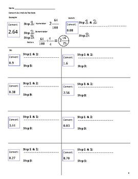 Convert Fractions and Decimals