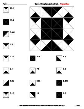 Convert Fractions to Decimals - Coloring Worksheets