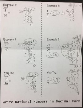 Convert Fractions to Decimals Foldable