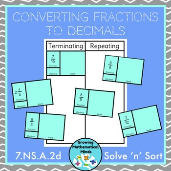 Convert Fractions to Decimals Solve 'n' Sort