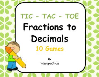 Convert Fractions to Decimals Tic-Tac-Toe