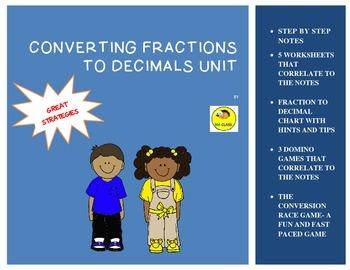 Convert Fractions to Decimals Unit