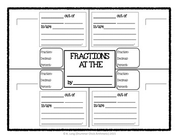 Convert Fractions to Decimals and Percents:  Writing Activity and Worksheet