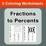 Convert Fractions to Percents - Coloring Worksheets
