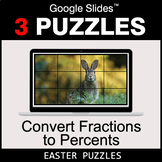 Convert Fractions to Percents - Google Slides - Easter Puzzles
