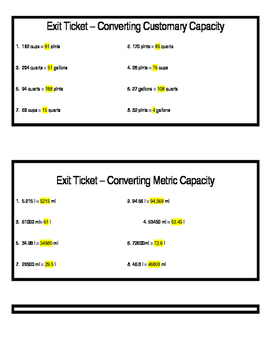 Convert Measurement Exit Tickets