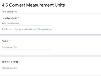 Convert Measurement units Google Forms