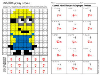 Convert Mixed Numbers to Improper Fractions: Mystery Picture (Minion)