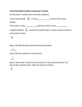 Convert Mixed Numbers to Improper Fractions and Improper to Mixed