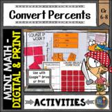 Convert Percents Math Activities Google Slides and Printable