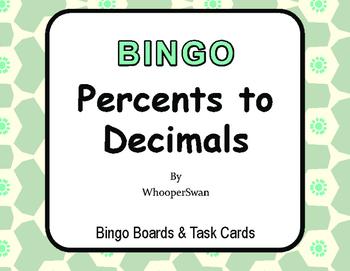 Convert Percents to Decimals BINGO and Task Cards