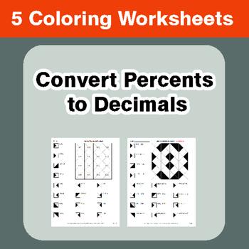 Convert Percents to Decimals - Coloring Worksheets