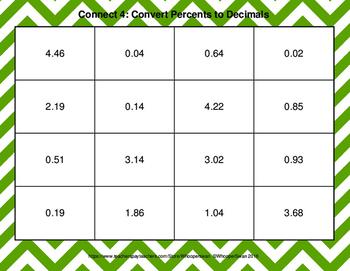 Convert Percents to Decimals - Connect 4 Game