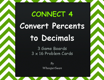 Convert Percents to Decimals - Connect 4 Game