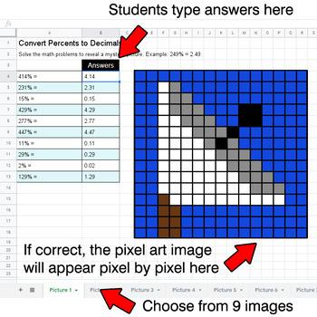 Convert Percents to Decimals - Google Sheets Pixel Art - Outer Space