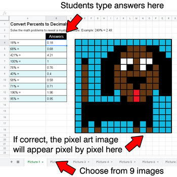 Convert Percents to Decimals - Google Sheets Pixel Art - Pets