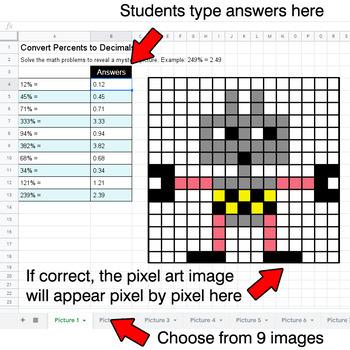 Convert Percents to Decimals - Google Sheets Pixel Art - Robots