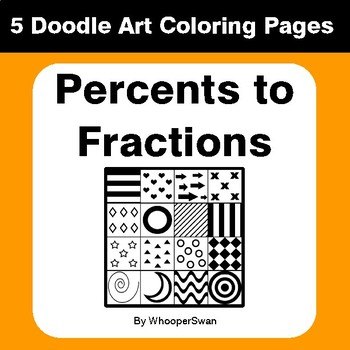 Convert Percents to Fractions - Coloring Pages | Doodle Art Math