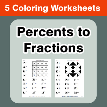 Convert Percents to Fractions - Coloring Worksheets