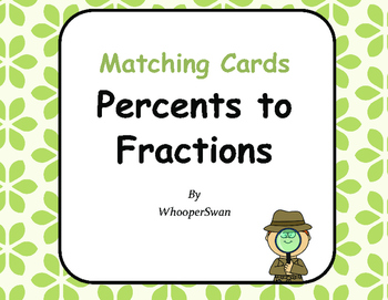 Convert Percents to Fractions Matching Cards