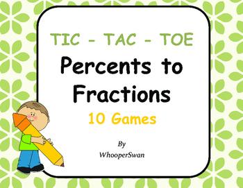 Convert Percents to Fractions Tic-Tac-Toe