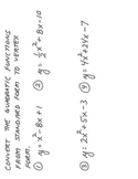 Convert Quadratic Functions from Standard Form to Vertex Form