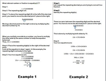 Convert Repeating Decimals to Fractions Foldable For Interactive Notebook