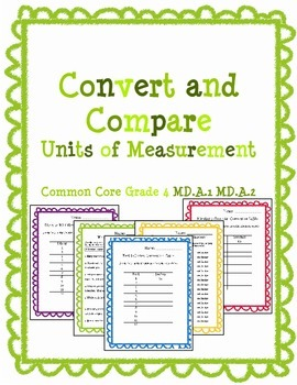 Convert and Compare Measurement Pack Common Core Grade 4