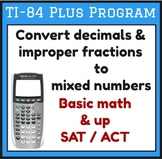 Convert decimal / improper fraction to mixed number - TI-84 Plus Program