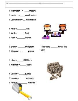 Convert measurements Worksheet
