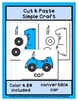 Convertible Car - Cut & Paste Craft  Super Easy perfect for Pre-K & Kindergarten