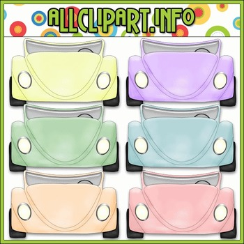 $1.00 BARGAIN BIN - Convertible Cars (Pastel) Clip Art