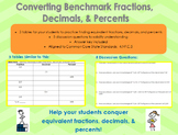 Converting Benchmark Fractions, Decimals, and Percents