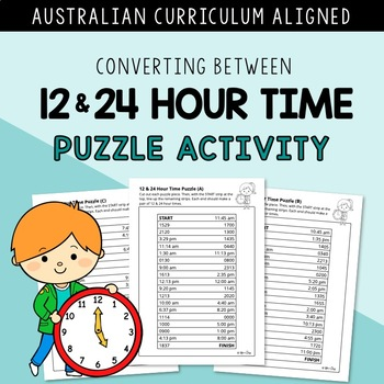 Converting Between 12 - 24 Hour Time PUZZLE⎜AUSTRALIAN CURRICULUM
