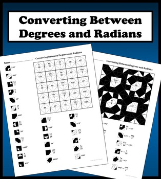 Converting Between Degrees and Radians Color Worksheet