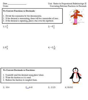 Converting Between Fractions & Decimals Notes