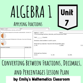 Converting Between Fractions, Decimals, and Percentages Lesson Plan