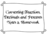 Converting Between Fractions, Decimals, and Percents Notes and Homework