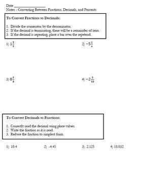 Converting Between Fractions, Decimals, and Percents Notes and Homework