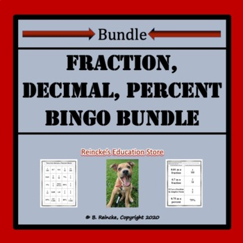 Converting Between Fractions, Decimals, and Percents Bingo Games